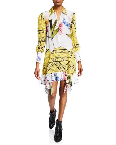 Collared Mix-Print Long-Sleeve Asymmetrical Dress