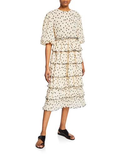 Dot-Print Plisse Blouson-Sleeve Tiered Midi Dress
