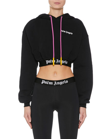 Palm Angels T-shirts CROPPED LOGO-PRINT HOODED SWEATSHIRT