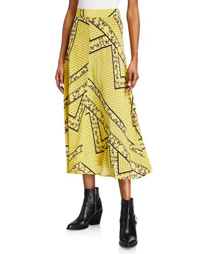 Printed Viscose-Silk Paneled Midi Skirt