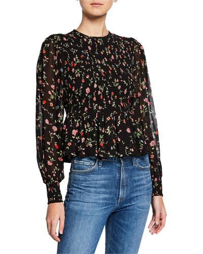 Floral-Print Smocked Long-Sleeve Peplum Blouse