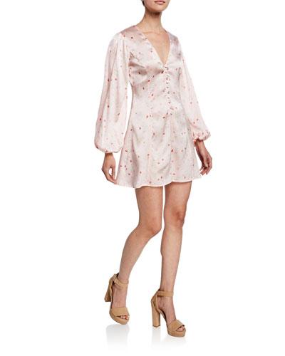 Floral-Print V-Neck Blouson-Sleeve Mini Dress