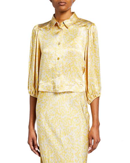 Ganni Tiny Floral-Print Button-Down 3/4-Sleeve Shirt