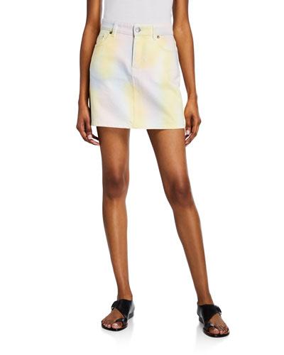 Multicolored Denim Short Skirt