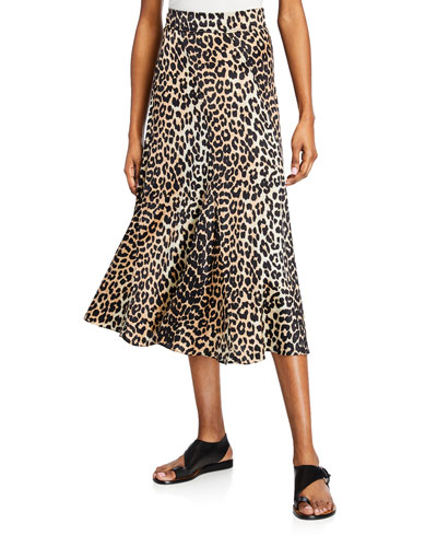 Leopard-Print Stretch-Silk Skirt