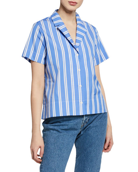 The Tina Striped Button-Front Cotton Shirt