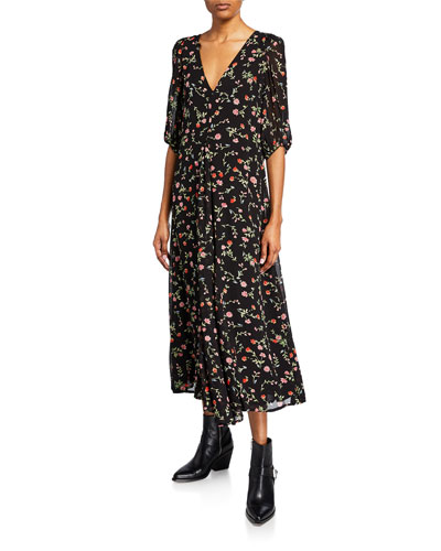 Floral-Print V-Neck Puff-Sleeve Midi Dress