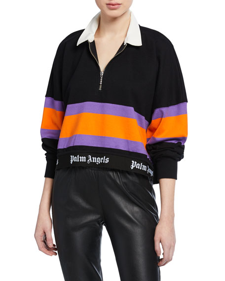 Palm Angels Tops CROPPED STRIPED POLO TOP WITH LOGO HEM