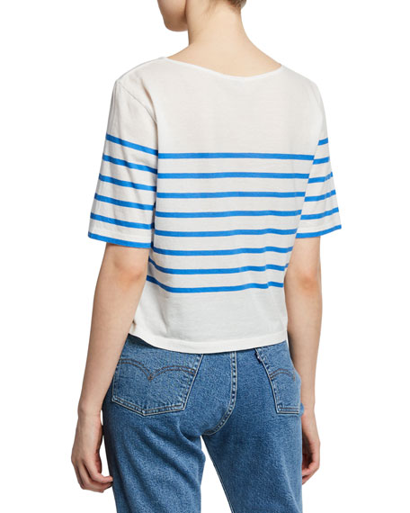 The Crop Striped Short-Sleeve Cotton T-Shirt