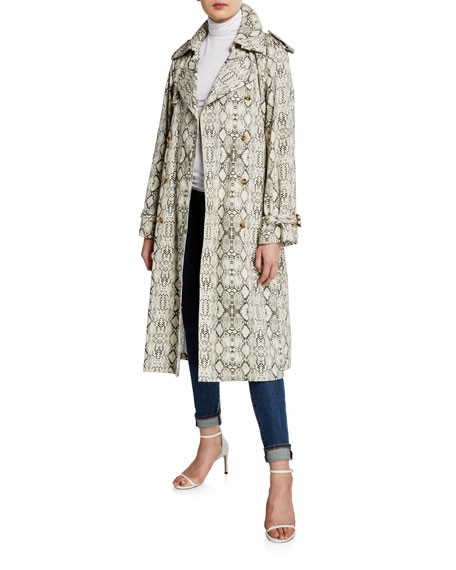 Snake-Print Cotton Long Trench Coat