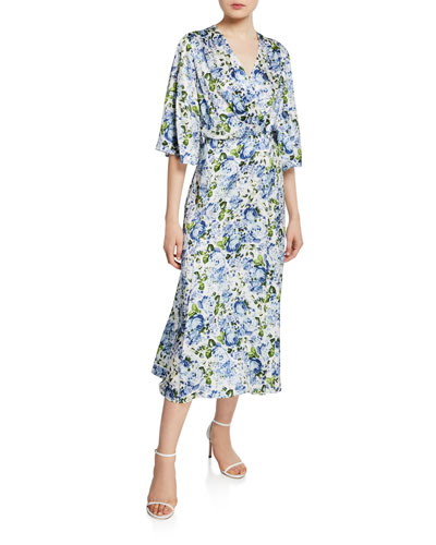 Flutter-Sleeve Floral Silk Wrap Dress