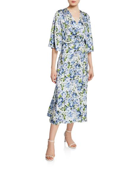 3e5842c90ced8 Les Reveries Flutter-Sleeve Floral Silk Wrap Dress