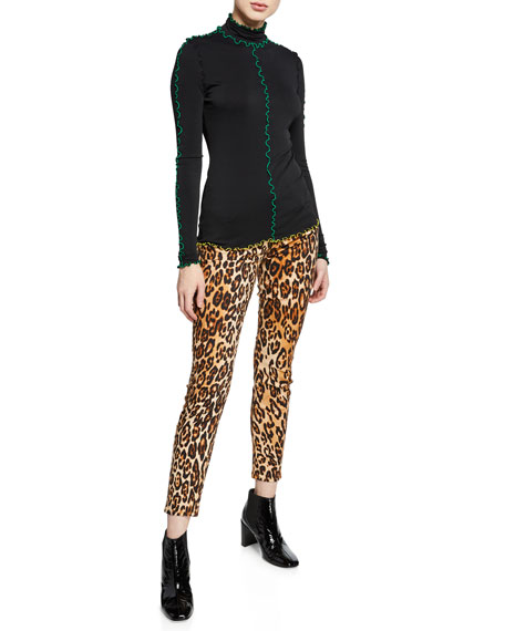 Ankle Skinny Mid-Rise Leopard-Print Jeans