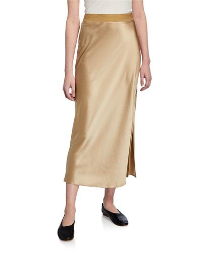 Flat-Sateen A-Line Maxi Slip Skirt