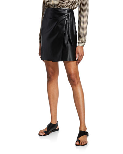 Iowa Vegan Leather Short Wrap Skirt