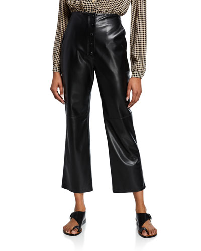 Sora High-Rise Vegan Leather Cropped Pants