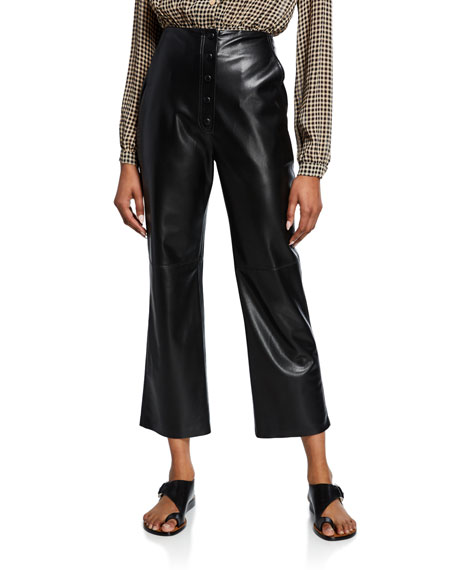 Nanushka Sora High-Rise Vegan Leather Cropped Pants
