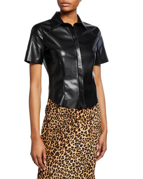 bd7ed5dd4f8dfb Nanushka Clare Vegan Leather Short-Sleeve Collared Blouse