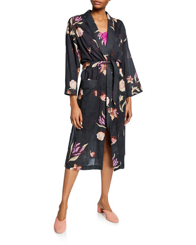 Kimo Floral-Print Cotton Robe Dress