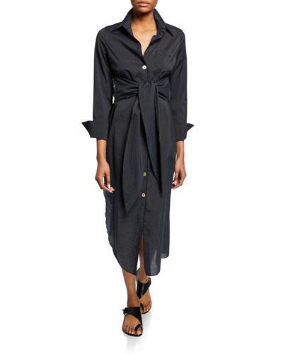 Nata Poplin Tie-Front Asymmetrical Shirtdress