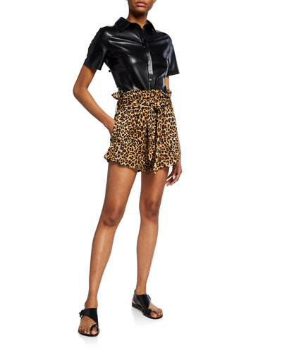 Primrose Pleated Paperbag Leopard-Print Shorts
