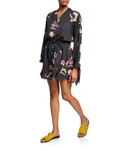 Tandi Long-Sleeve Floral Cotton Shirtdress