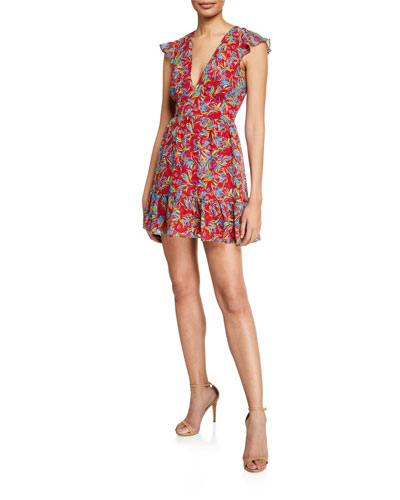 6dbe3218fd669 Promotion Pia Printed V-Neck Flounce Short Dress