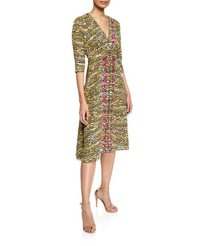 41fc9677c3cee Eve Tiger-Print V-Neck Silk A-Line Dress