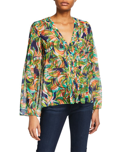 V-Neck Printed Pintucked Georgette Top