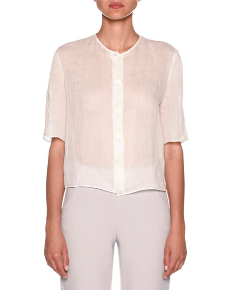 Short-Sleeve Linen Button-Front Blouse
