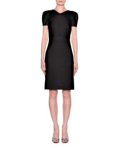 Short-Sleeve Wool Crepe V-Neck Dress, Black