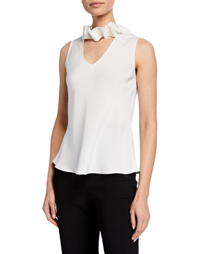 646f3b1aee47 Sleeveless Silk V-Neck Blouse w  Removable Neck Ruffle Quick Look. Giorgio  Armani