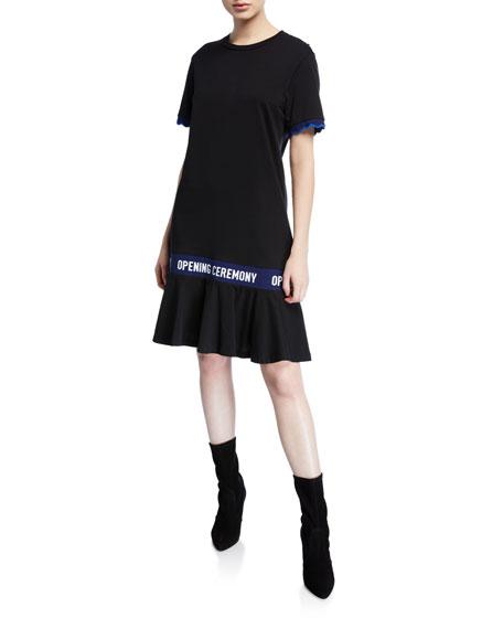 Scallop OC Elastic Cotton T Dress