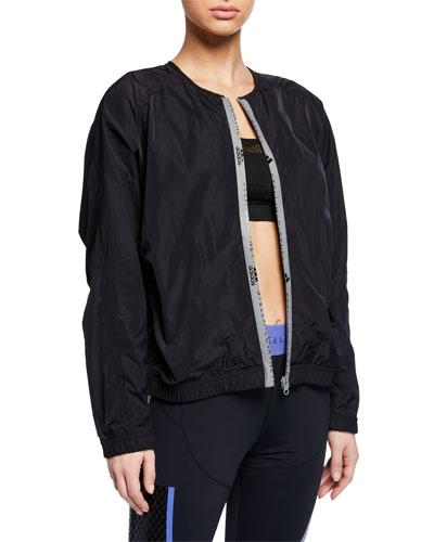 Collarless Zip-Front Active Bomber Jacket