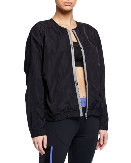 adidas by Stella McCartney Collarless Zip-Front Active Bomber