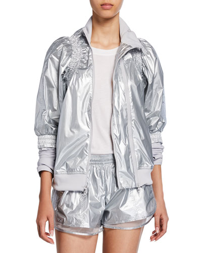 Metallic Zip-Front Running Jacket