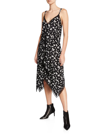 Spring Daisy-Print V-Neck Sleeveless Handkerchief Dress