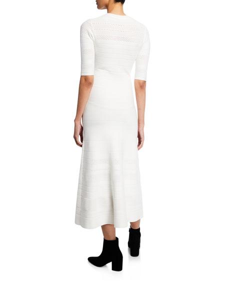 Crewneck Elbow-Sleeve Knit Pointelle Trumpet Dress