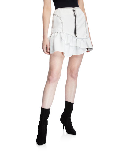 Front Exposed-Zip Mini Skirt