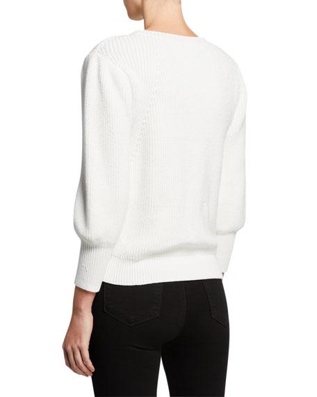 Crewneck 3/4 Blouson-Sleeve Chunky Rib-Knit Sweater