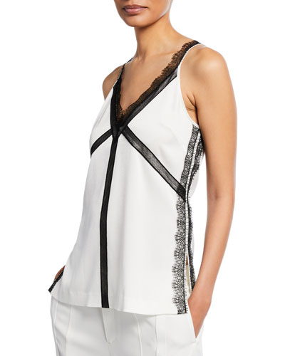 e232ca980 V-Neck Satin Back Crepe Tank Top with Lace Trim Quick Look. Jason Wu