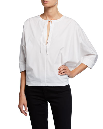 Split-Neck 3/4 Dolman-Sleeve Stretch-Cotton Poplin Blouse