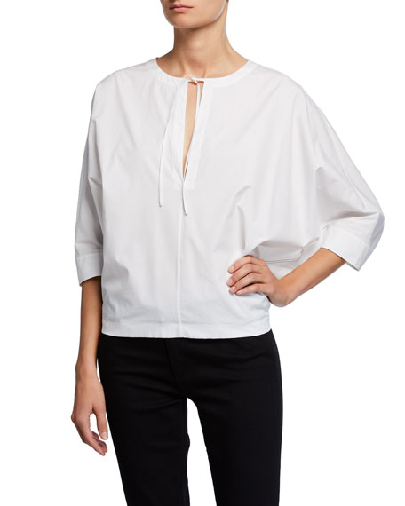 Jason Wu Split-Neck 3/4 Dolman-Sleeve Stretch-Cotton Poplin