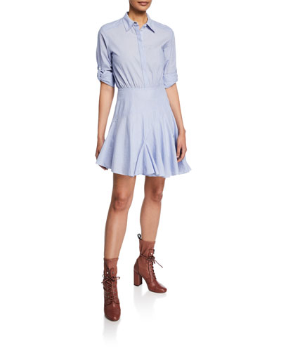 Mini Stripe Long-Sleeve Shirting Dress