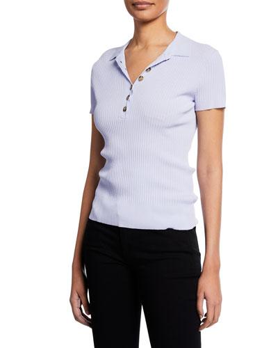 Short-Sleeve Rib-Knit Collared Sweater