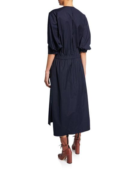 V-Neck Cinched-Waist Stretch-Cotton Poplin Dress