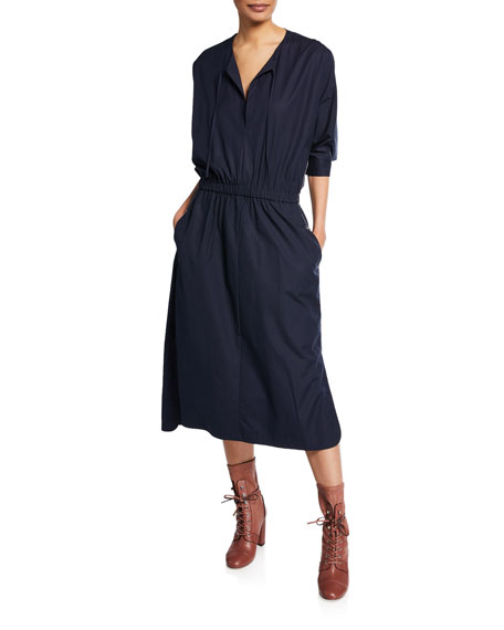 Jason Wu V-Neck Cinched-Waist Stretch-Cotton Poplin Dress