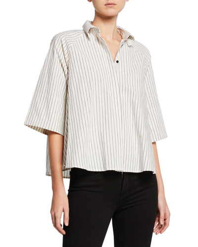 Striped Button-Down Half-Sleeve Boxy Top