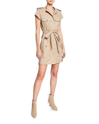 Belted Short-Sleeve Cotton Trench Dress