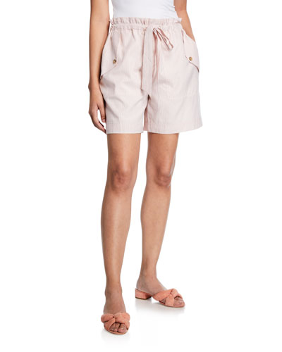 Tricolor Striped Drawstring Shorts